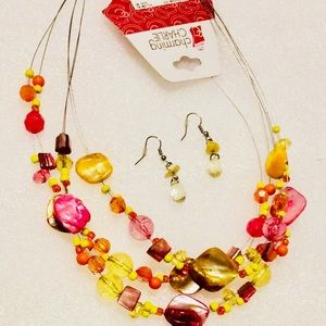 Charming Charlie Necklace Earrings Set Pink Yellow